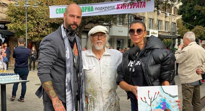 Роксана Кирилова рисува с Иван Яхнаджиев в подкрепа на българската култура (СНИМКИ)