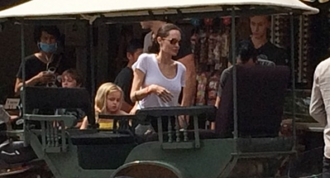 Папараци щракнаха Анджелина Джоли без сутиен в Дисниленд (Снимки)