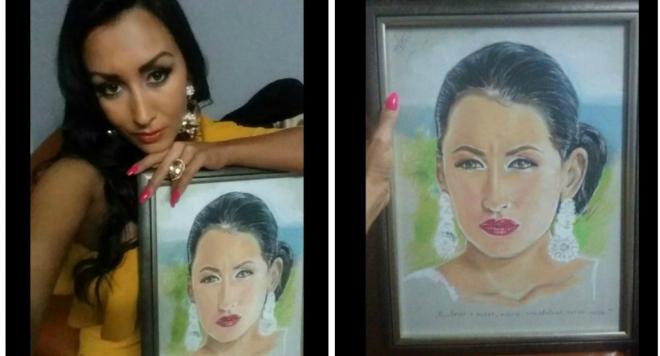 Художник изненада Джена с неин портрет