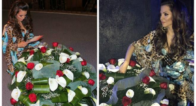 Таен обожател изненада Райна с огромна кошница с цветя