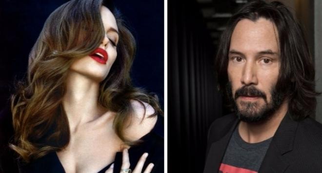 Анджелина Джоли в страстна връзка с Киану Рийвс